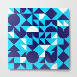 geometric blue Metal Print