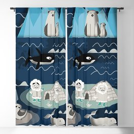 Arctic animals blue Blackout Curtain