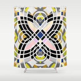 Retro Boho Tile Butterfly Geometric Modern Mosaic Mandala Shower Curtain