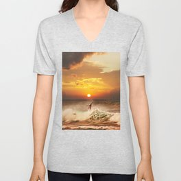 The Art Of Surfing In Hawaii 10 Unisex V-Neck