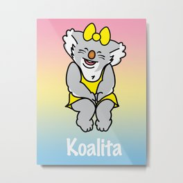 Smiling Koalita Metal Print