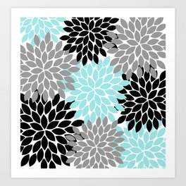 Aqua Black Gray Flower Burst Floral Pattern Art Print