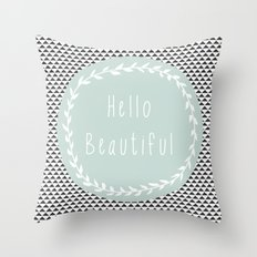 Hello Beautiful, Geometric, Quote, Modern, Home Decor Throw Pillow