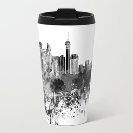 Jeddah skyline in black watercolor Travel Mug