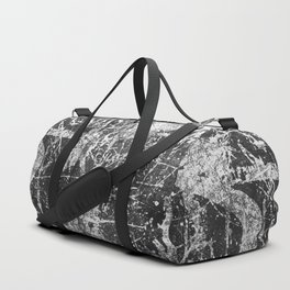 black abstract mono graffiti texture pattern Duffle Bag