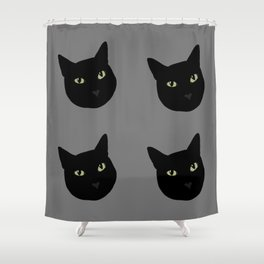 can I pet your cat? no. black cat portrait Shower Curtain