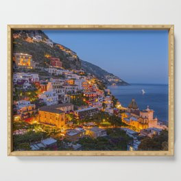A Serene View of Amalfi Coast in Italy Serving Tray