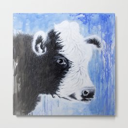 Black and White Cow Acrylic Painting Metal Print