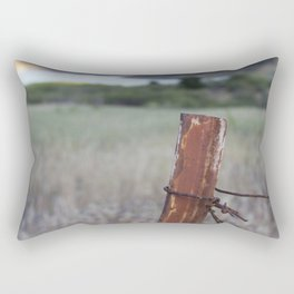Rusty Fence Barb Wire Rectangular Pillow
