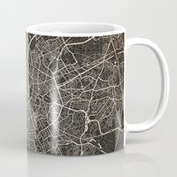 brussels Mugs featuring brussels map ink lines by Les petites illustrations