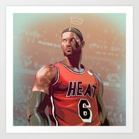 lebron Art Prints featuring Lebron 2014 by meisterMASH
