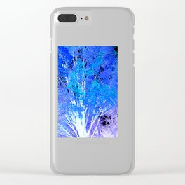 Blue Violet tree leaves Clear iPhone Case