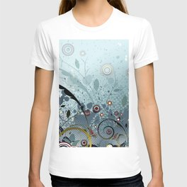 Blue Mystery Forest of Flowers and Tendrils T-shirt