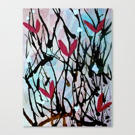 Blown Ink Painting Collage Canvas Print
