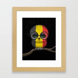 Baby Owl with Glasses and Belgian Flag Framed Art Print