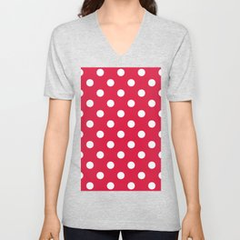Polka Dots - White on Crimson Red Unisex V-Neck