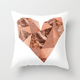 Rose gold geometric heart - glitter & foil Throw Pillow