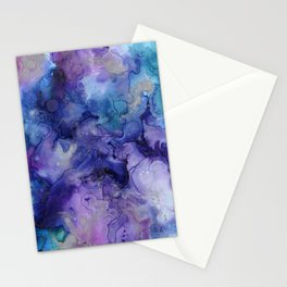 Abstract Watercolor Coastal, Indigo, Blue, Purple Stationery Cards