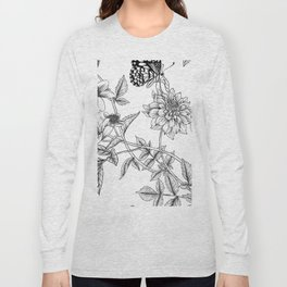 minimal flowers and butterflies Long Sleeve T-shirt