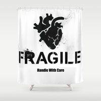 anatomical heart Shower Curtains featuring Fragile Anatomical Heart by J ō v