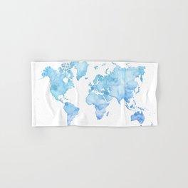 Light blue watercolor world map Hand & Bath Towel