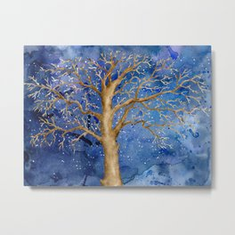 Watercolor Abstract Oak Tree Night Scene Metal Print