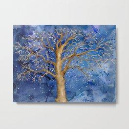 Watercolor Abstract Oak Tree Night Scene Metal Print