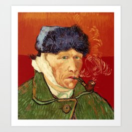 Vincent van Gogh Self-portrait with Bandaged Ear and Pipe Art Print