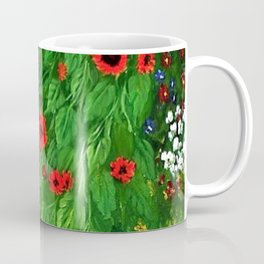 Red Sunflowers, Anemones & Red Poppies and Floral Farm Garden by Gustav Klimt Coffee Mug