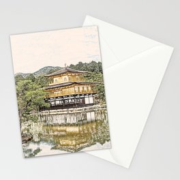 Kinkaku-ji Temple Gold Kyoto Japan Artwork Stationery Cards