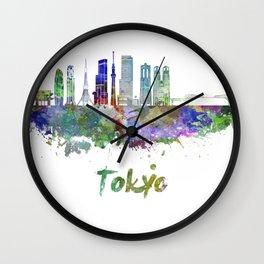 Tokyo V3 skyline in watercolor Wall Clock