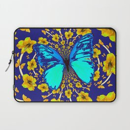 TURQUOISE BLUE YELLOW AMARYLLIS BUTTERFLY ART Laptop Sleeve