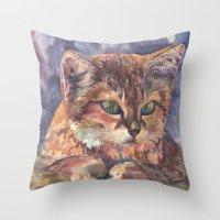 meow Throw Pillows featuring Meow by Emma Reznikova