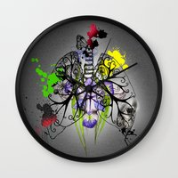 lungs Wall Clocks featuring Lungs by Nadia Cruikshanks