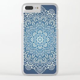 Mandala dark blue Clear iPhone Case