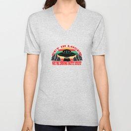Get In Loser We're Doing Butt Stuff UFO Alien Vintage Abduction Meme Funny T-shirt Design Trees Unisex V-Neck