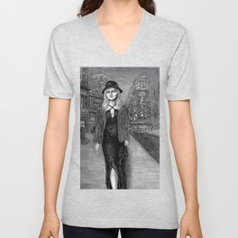 Untitled - charcoal drawing - beauty, woman, figure, cityscape Unisex V-Neck