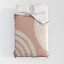 Mid Century Modern Dust Pink Sun & Rainbow Comforters