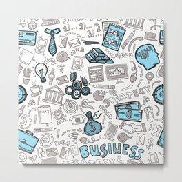 Business Seamless Pattern Metal Print