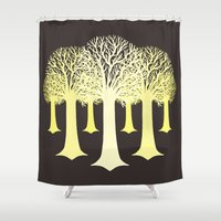 gondor Shower Curtains featuring electricitrees by freshinkstain