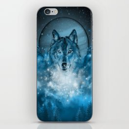 wolf in blue iPhone Skin