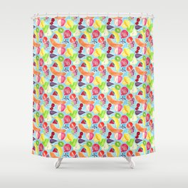 Fruit Salad in Watercolors on Bright Blue Background Shower Curtain
