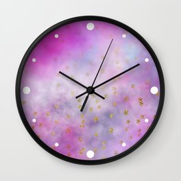 Watercolor Pink & Lilac Clouds & Stars Wall Clock