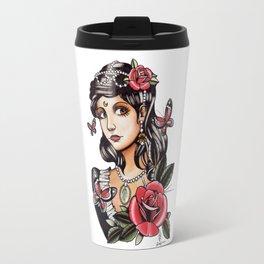 Girl with Butterflies - tattoo Travel Mug