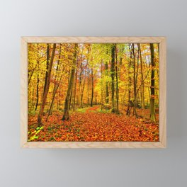 Autumn Forest with Fallen Leaves Framed Mini Art Print