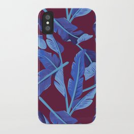 Tropical '17 - Blue Bird Of Paradise [Banana Leaves] iPhone Case