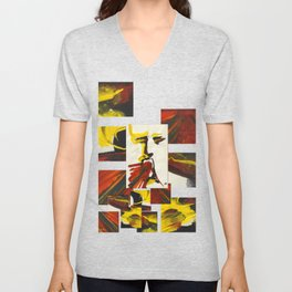 Face on Yellow Crying Red Unisex V-Neck