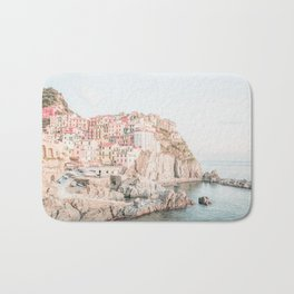 Positano, Italy Amalfi coast pink-peach-white travel photography in hd Bath Mat
