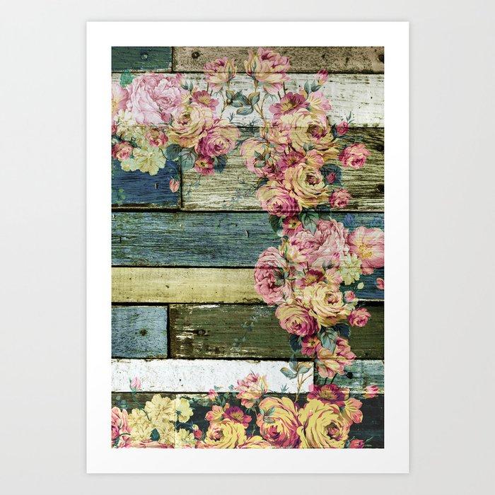 vintage roses on wood Art Print