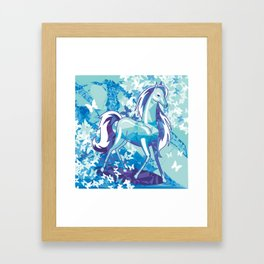 Beautiful horse with long mane Framed Art Print